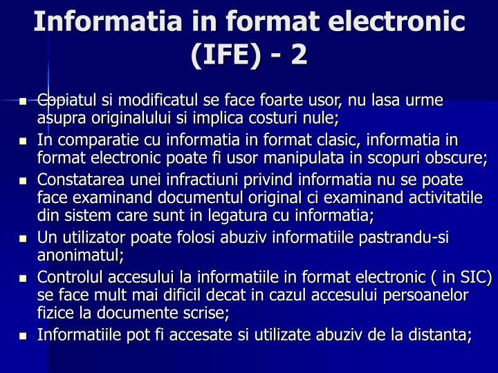 Informatia in format electronic (IFE) - 2