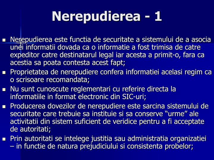 Nerepudierea - 1
