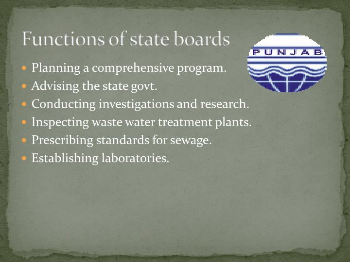 Functions of state boards