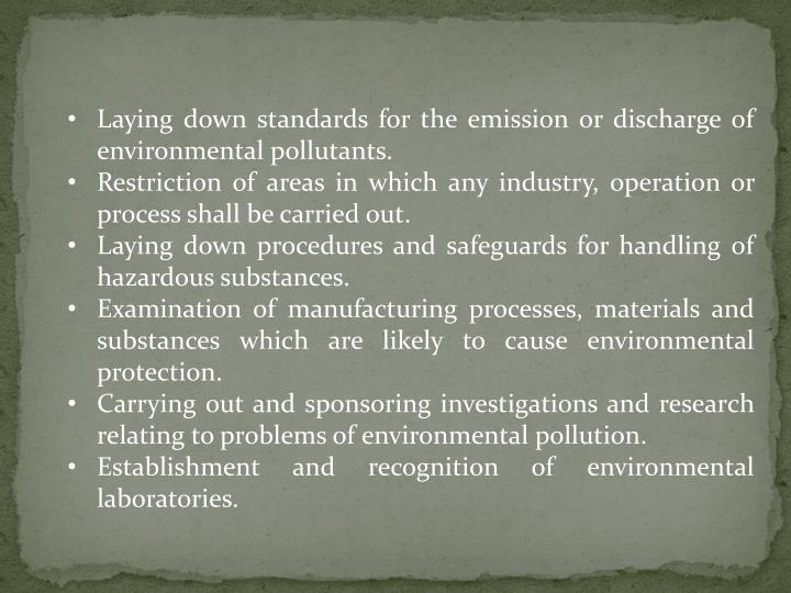 Laying down standards for the emission or discharge of environmental pollutants.