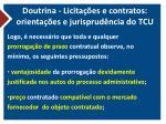 doutrina licita es e contratos orienta es e jurisprud ncia do tcu