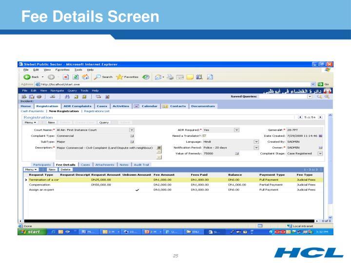 Fee Details Screen