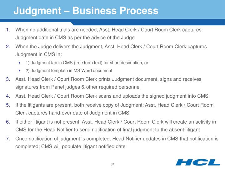 Judgment – Business Process
