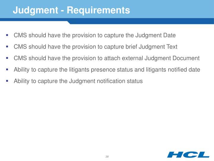 Judgment - Requirements