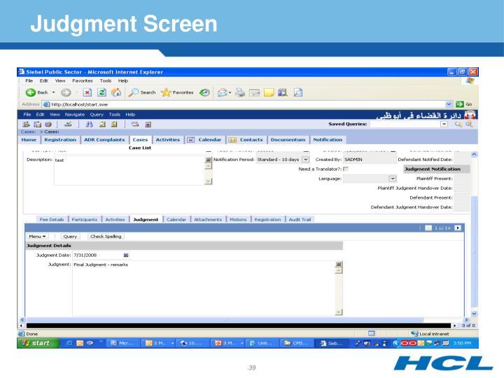 Judgment Screen