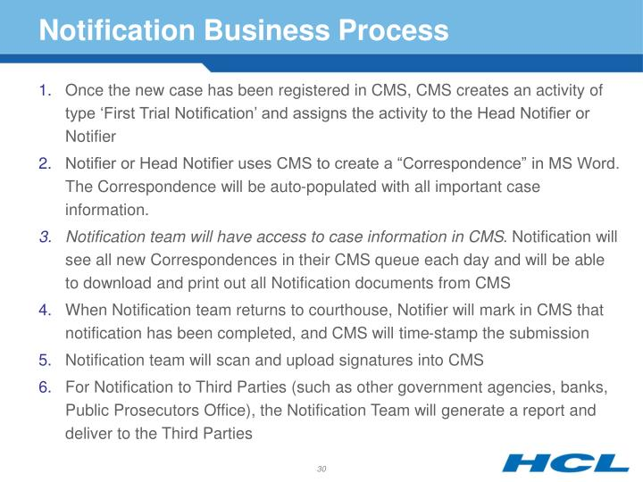 Notification Business Process