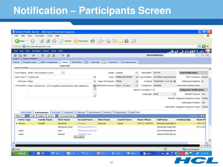 Notification – Participants Screen