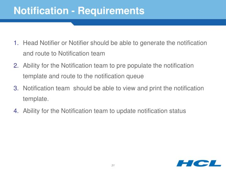 Notification - Requirements
