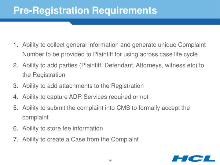 Pre-Registration Requirements