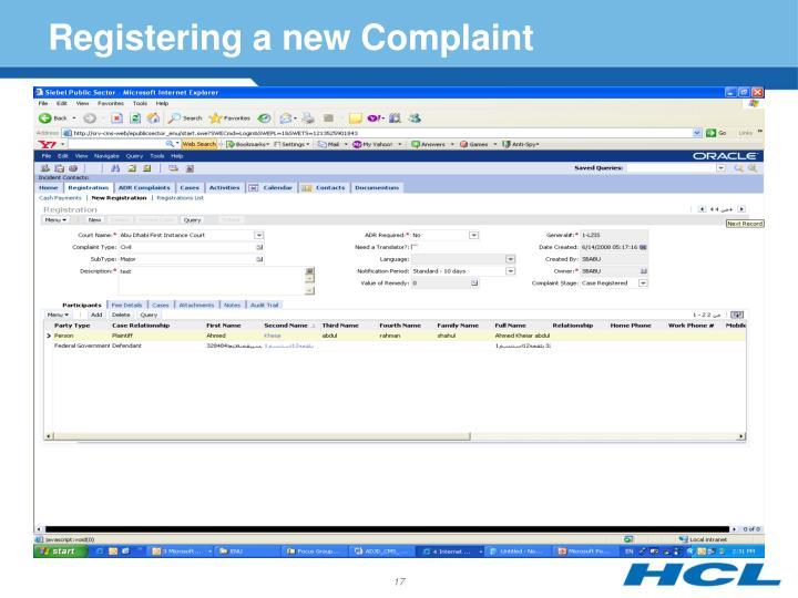 Registering a new Complaint