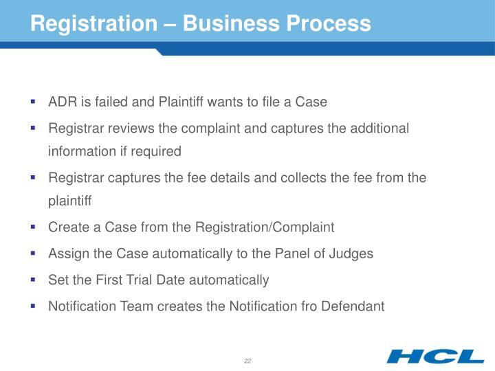 Registration – Business Process