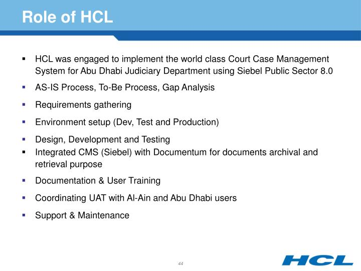 Role of HCL