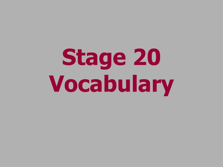 stage 20 vocabulary n.