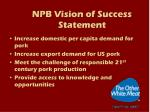 npb vision of success statement