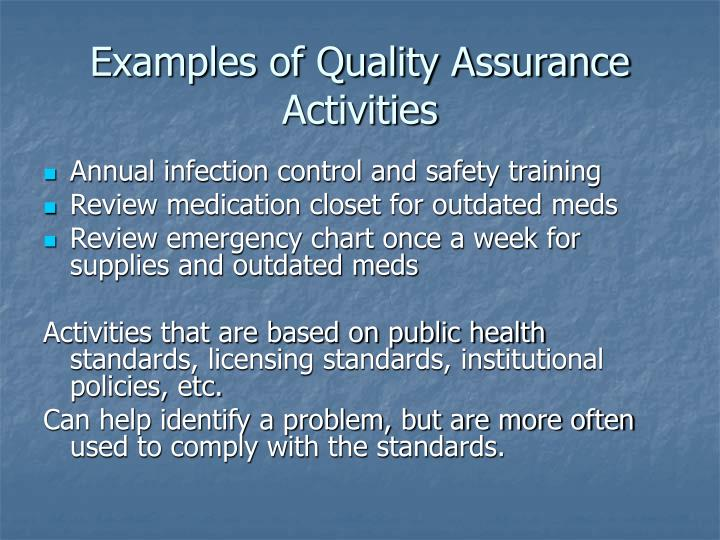Examples of Quality Assurance Activities