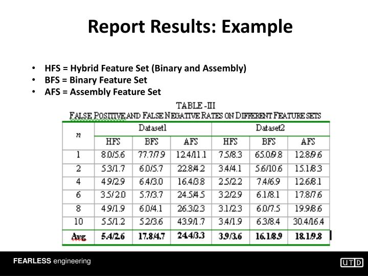 Report Results: Example