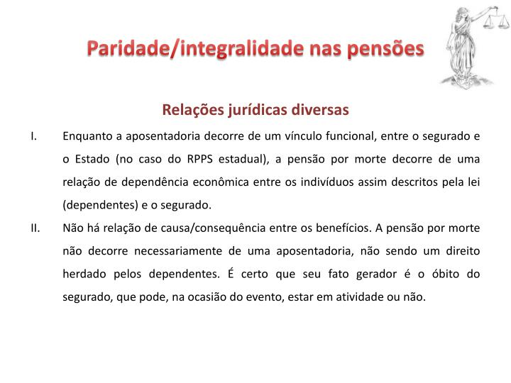 Paridade/integralidade nas pensões