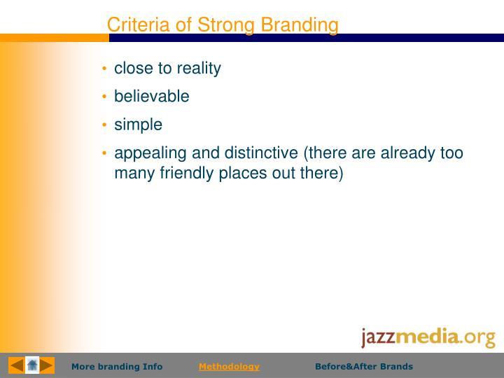 Criteria of Strong Branding