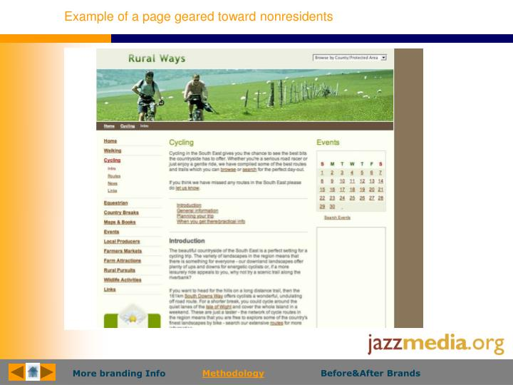 Example of a page geared toward nonresidents