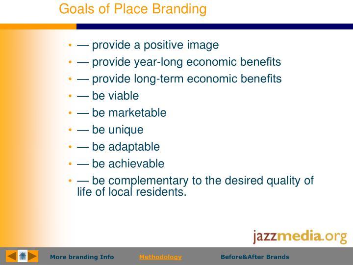 Goals of Place Branding