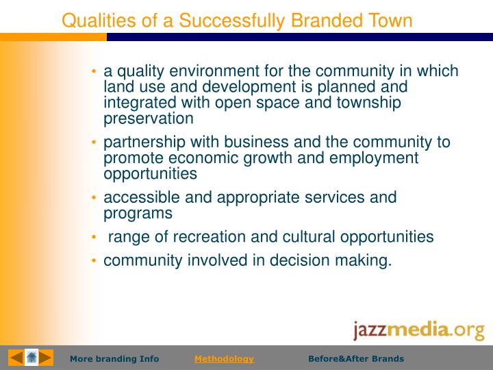 Qualities of a Successfully Branded Town