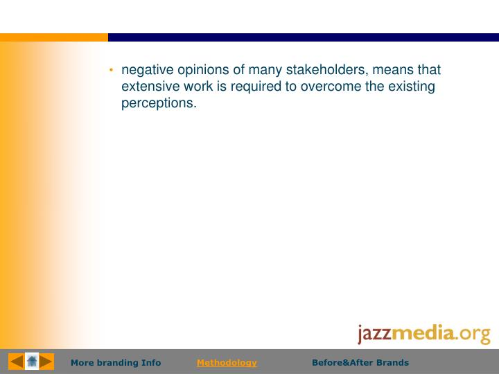 negative opinions of many stakeholders, means that extensive work is required to overcome the existing perceptions.