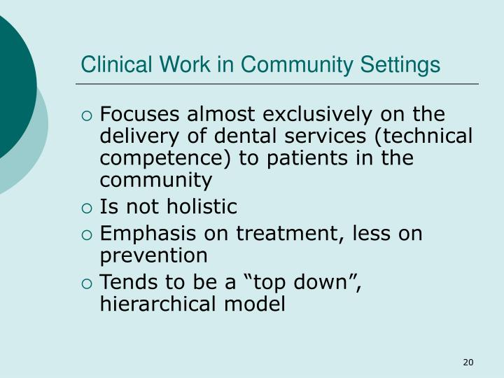 Clinical Work in Community Settings