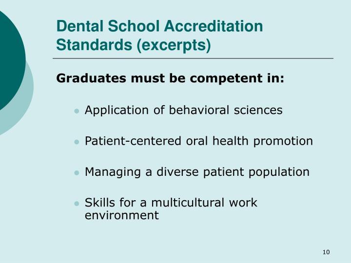Dental School Accreditation Standards (excerpts)