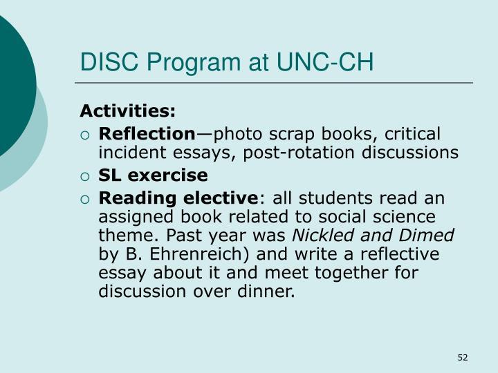 DISC Program at UNC-CH