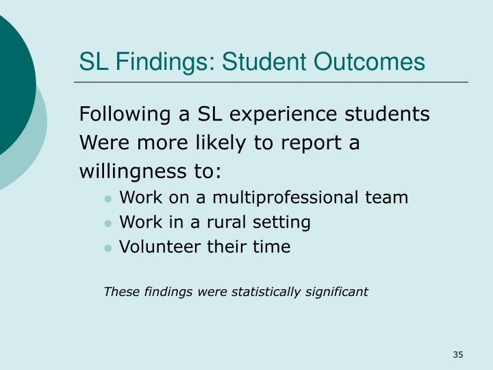 SL Findings: Student Outcomes