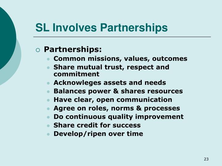 SL Involves Partnerships