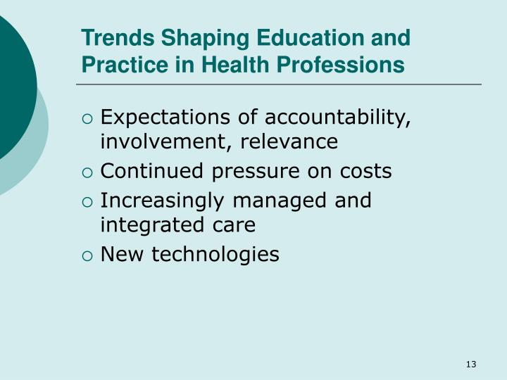 Trends Shaping Education and Practice in Health Professions