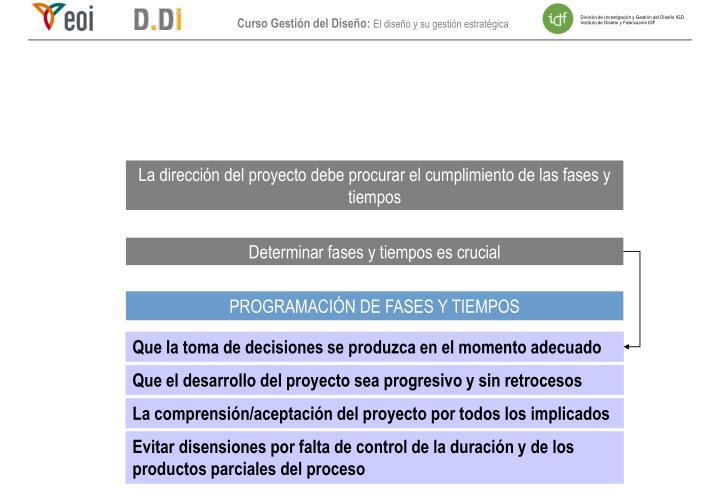 La dirección del proyecto debe procurar el cumplimiento de las fases y tiempos