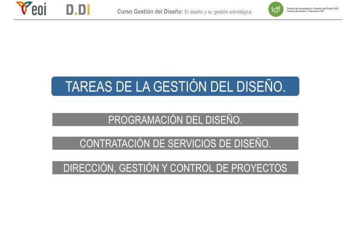 TAREAS DE LA GESTIÓN DEL DISEÑO.