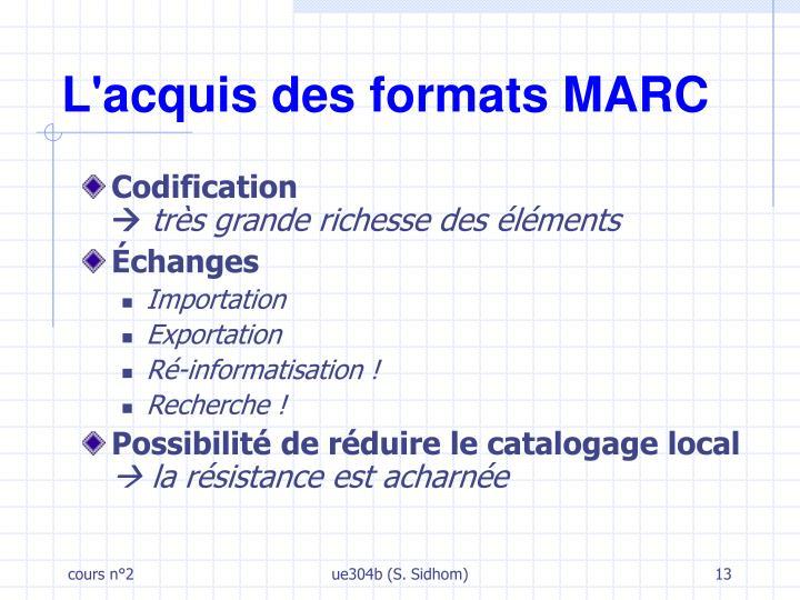 L'acquis des formats MARC