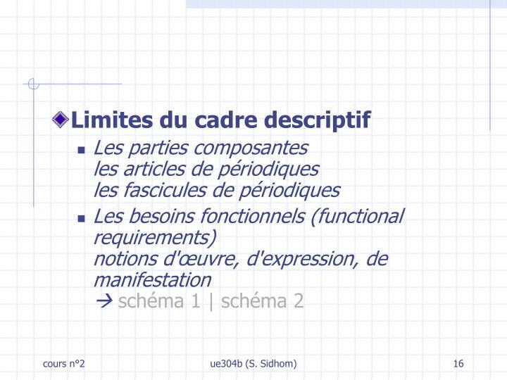 Limites du cadre descriptif