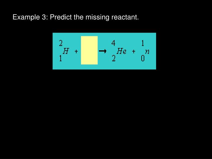 Example 3: Predict the missing reactant.