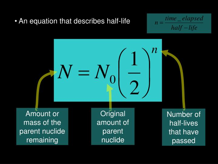 An equation that describes half-life