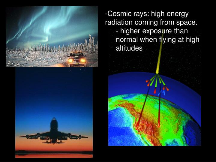 Cosmic rays: high energy radiation coming from space.