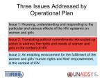 three issues addressed by operational plan