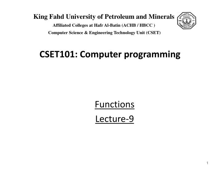 Functions lecture 9