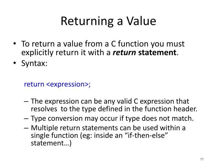 Returning a Value