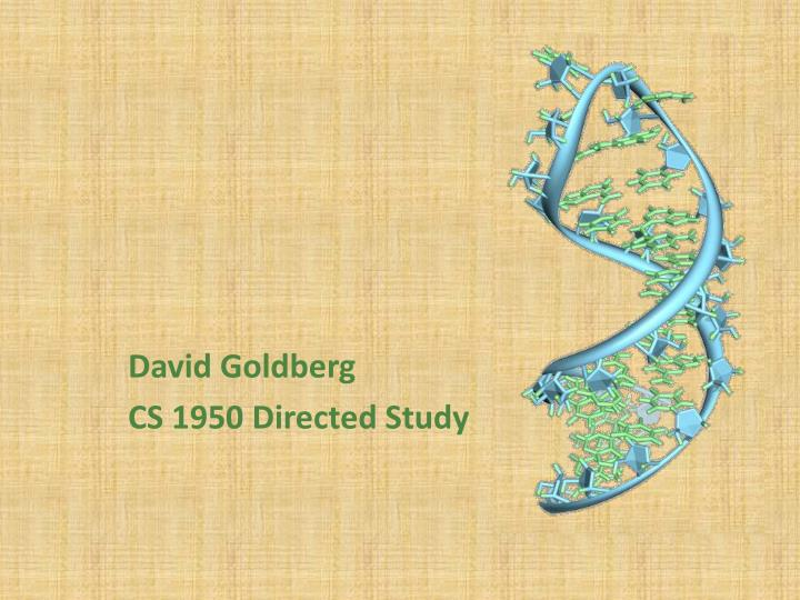 David goldberg cs 1950 directed study