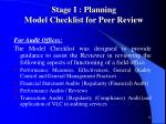 stage i planning model checklist for peer review