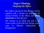 stage i planning notifying the office