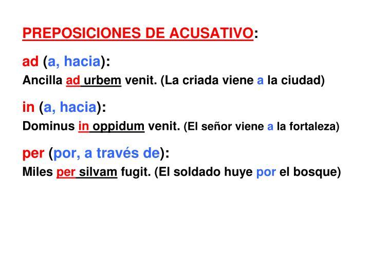 PREPOSICIONES DE ACUSATIVO