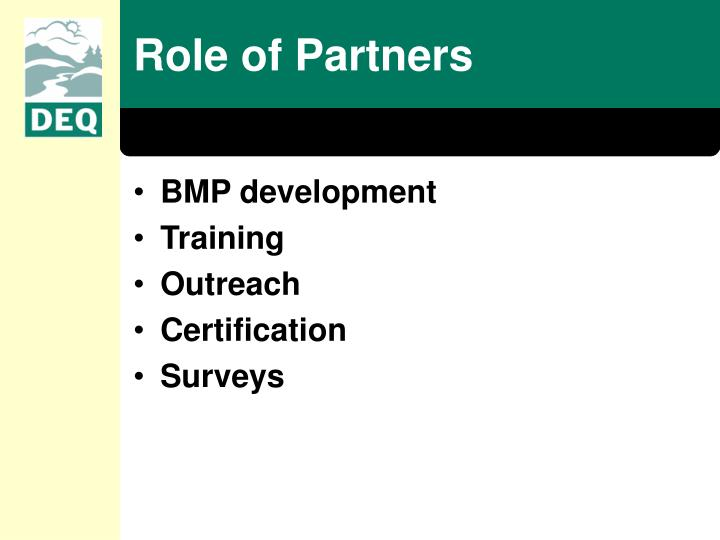 Role of Partners