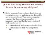 q how does rocky mountain power assess the need for new or upgraded plant