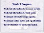 week 9 progress