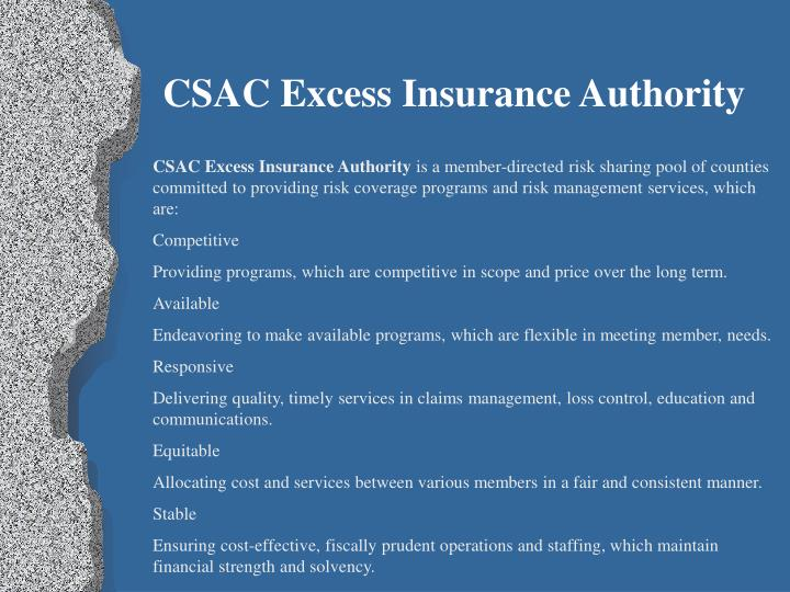 Csac excess insurance authority